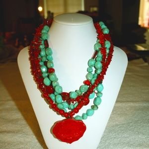 CHICO'S NECKLACE FLORAL RED PENDANT TURQUOISE BEAD